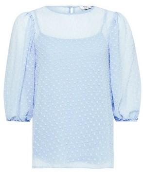 Dorothy Perkins Womens Dp Petite Blue Dobby Puff Sleeve Top, Blue