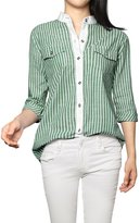 Allegra K Woman Rolled Sleeves Stand Collar Button Striped Denim Shirt