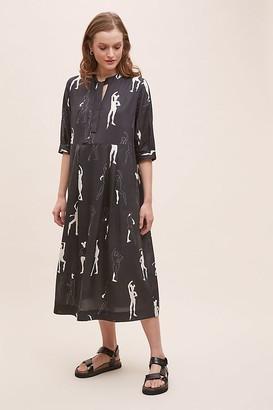 5Preview Dancer-Print Midi Dress