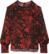 Isabel Marant Ikara Ruffled Printed Stretch-silk Crepe Blouse - Red