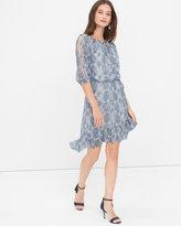 White House Black Market Split Sleeve Snake Print High-Low Dress