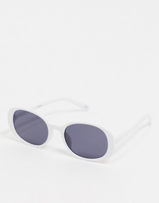 ASOS DESIGN recycled oversized oval sunglasses in white