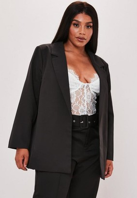 Missguided Plus Size Black Boyfriend Blazer