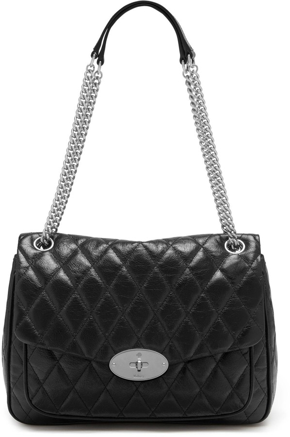 Mulberry Darley Shoulder Bag Black Quilted Shiny Buffalo
