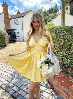 Miss Selfridge Yellow Fit and Flair Poplin Dress
