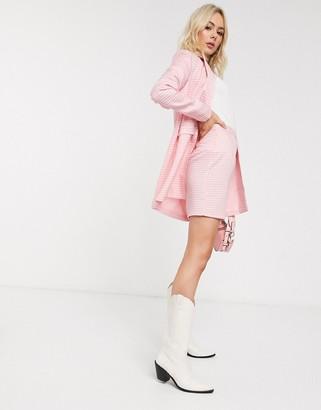 Heartbreak tailored mini skirt suit in pink gingham