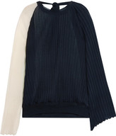 Marni Two-tone Plissé Silk And Cotton-blend Top - Navy