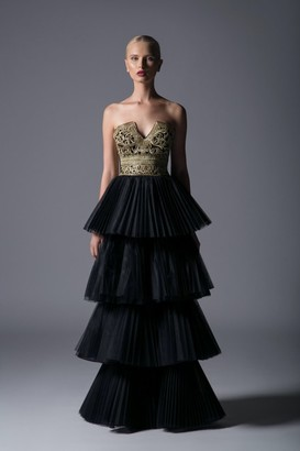 Divina by Edward Arsouni Strapless Embroidered Tiered Gown