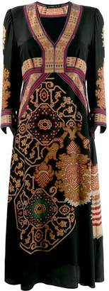 Etro v-neck mix print dress