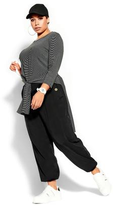 City Chic Simple Stripe Top - black