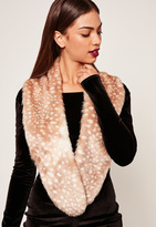 Missguided Faux Fur Stole Scarf Nude