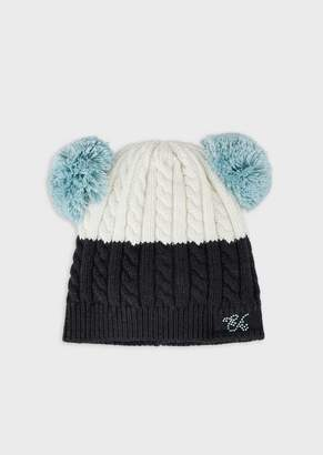 Emporio Armani Cable-Knit Beret With Pompoms