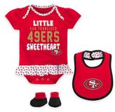NFL San Francisco 49ers Little Sweet Size 24M 3-Piece Creeper, Bib, and Bootie Set