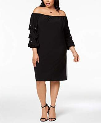 MSK Women's Plus Size Balloon Sleeve on/Off Shoulder Dress with Pearls