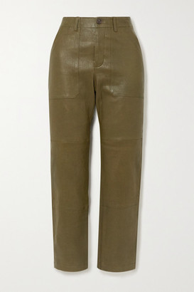 Sprwmn Leather Straight-leg Pants - Army green
