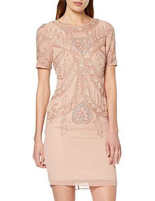 Frock and Frill Women's Fiona Short Sleeve Embellished Mini Dress Party (Barely Pink), (Size:UK )