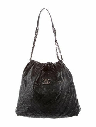 Chanel Elastic CC Large Shopping Tote Black