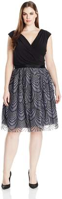 SL Fashions Women's Plus Size Solid Knit Top with Silver/Black Embroided Skirt Grey 20W