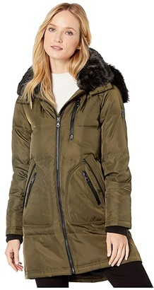 Vince Camuto Faux Fur Collar Down Coat (Port Royale) Women's Clothing