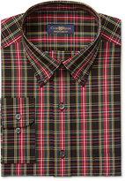 Club Room Estate Men's Classic-Fit Wrinkle Resistant Black Oversize Tartan Dress Shirt, Only at Macy's