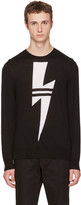 Neil Barrett Black Double Stripe Thunderbolt Sweater