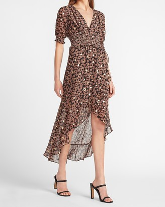 Express Metallic Leopard Smocked Waist Midi Dress