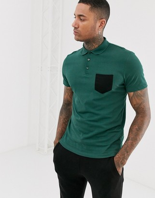 ASOS DESIGN polo shirt with contrast pocket in green
