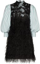 Ganni layered-style feathered mini dress