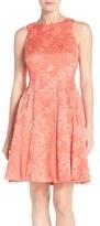 Maggy London 'Plisse' Floral Jacquard Fit & Flare Dress