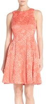 Maggy London Women's 'Plisse' Floral Jacquard Fit & Flare Dress