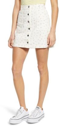 BP Printed Denim Miniskirt