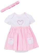 Little Me Infant Girls' Reverse Dot Knit Bodysuit Dress & Headband Set - Sizes 3-12 Months
