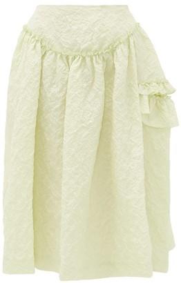 Simone Rocha Ruffled Floral-cloque Skirt - Womens - Light Green