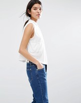 MANGO Boxy White Sleeveless Shirt