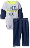 Bon Bebe Boys' 2 Piece Longsleeve Side Snap Bodysuit and Denim Pant Set
