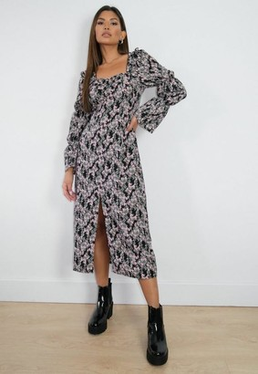 Missguided Black Floral Print Ruched Bust Midi Dress