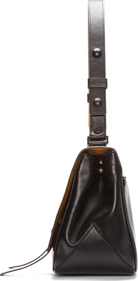 Proenza Schouler Black Buffed Leather Courier Shoulder Bag