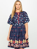 ELOQUII Plus Size Floral Printed Fit and Flare Dress