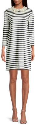 Lace Collar Striped Dress