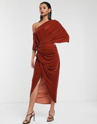 Asos Edition EDITION drape asymmetric maxi dress in velvet-Copper