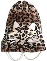 Simonetta Leopard Faux Fur Embellished Backpack