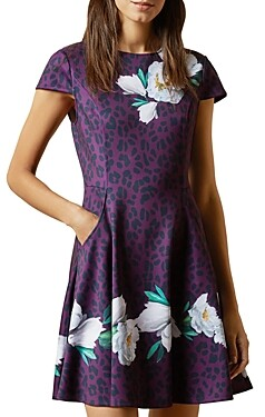 Ted Baker Animal And Floral Print Skater Dress
