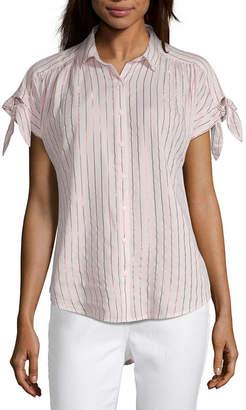 Parker PEYTON & Peyton & Womens Collar Neck Short Sleeve Camp Shirt
