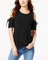 INC International Concepts I.n.c. Petite Lace-Up Cold-Shoulder Top, Created for Macy's