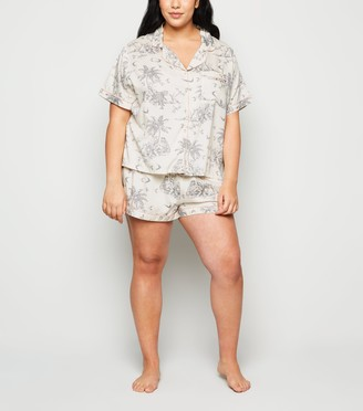 New Look Curves Palm Short Pyjama Set