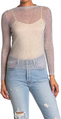 Elodie K Glitter Star Metallic Plisse Long Sleeve Top