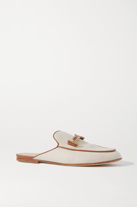 Tod's Leather-trimmed Embellished Canvas Slippers - Off-white