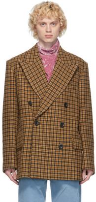 Dries Van Noten Beige Wool Tweed Peacoat