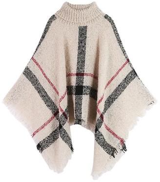 Goodnight Macaroon 'Hayley' Plaid Turtleneck Cape Sweater (5 colors)