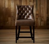 Pottery Barn Hayes Tufted Leather Barstool